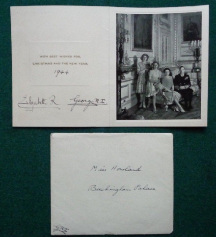 Antique Signed Christmas Card from King George VI Queen Elizabeth 1944